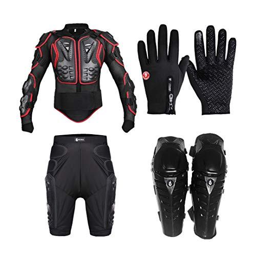 Gratydallks Stoßfest EVA Motorradjacken Set Motocross Körperschutz Rückenhandschuhe Kurze Hosen Knie Pad Motorrad Rüstung Red M