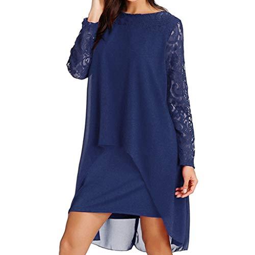 ♥ Loveso♥ Große Größen Bekleidung Damen Elegantes Spitzen Kleid Abendkleid Lose Chiffon Party Kleid Lässige Kleid