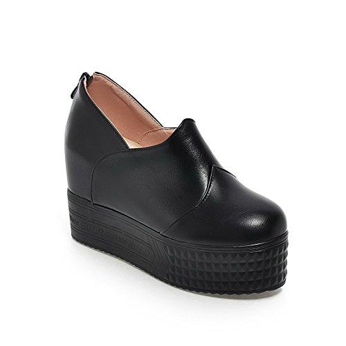 Damen Weiches Material Rund Zehe Hoher Absatz Reißverschluss Rein Pumps Schuhe, Rot, 34 AllhqFashion