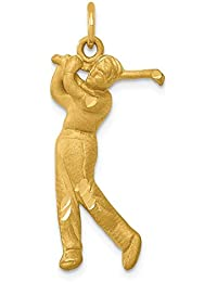 14k Yellow Gold Male Golfer Pendant Charm Necklace Sport Golf Fine Jewelry For Women Gift Set