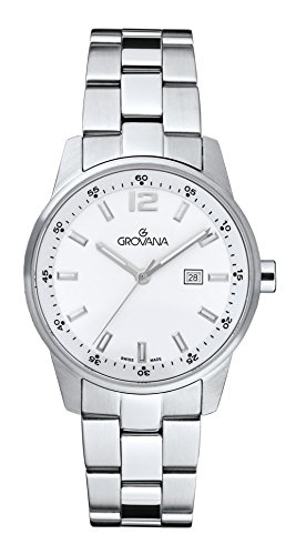 Grovana unisex Quartz Watch with White Dial Analogue Display and Silver Stainless Steel Bracelet 7715.1133