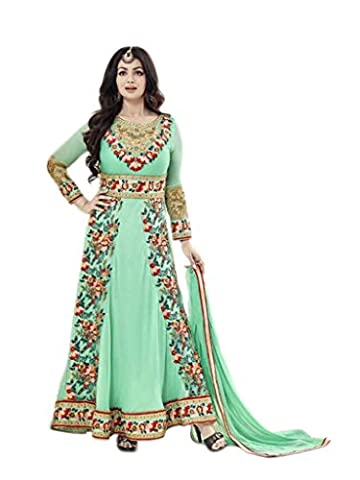 Shoppingover Indian Bollywood Women's Party wear Green Anarkali Suit in Georgette Dress Material.