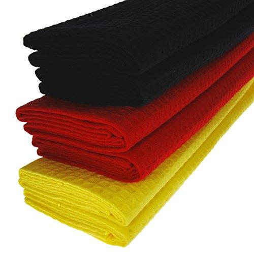 6x Geschirrtuch aus 100% Baumwolle Waffel-Piqué in schwarz / rot / gelb Deutschlandflagge Flagge Küchentuch Putztuch Set
