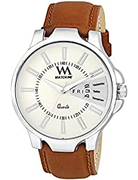WM White Dial Brown Leather Strap Premium Branded Limited Edition Day And Date Collection Watch For Men DDWM-053...