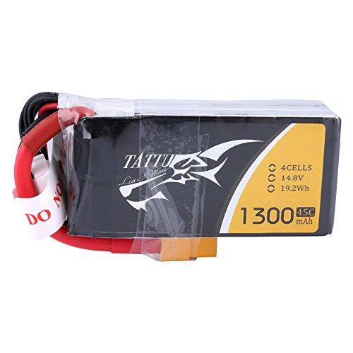 tattu 1300mAh 14.8V 45C 4S1P batería de polímero de litio con XT60Conector...