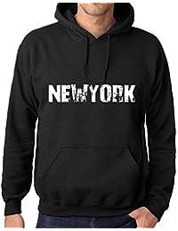 Mujer Hombre Sudadera Estampada con Capucha Camiseta de Manga Larga Popular Words Newyork Negro Profundo