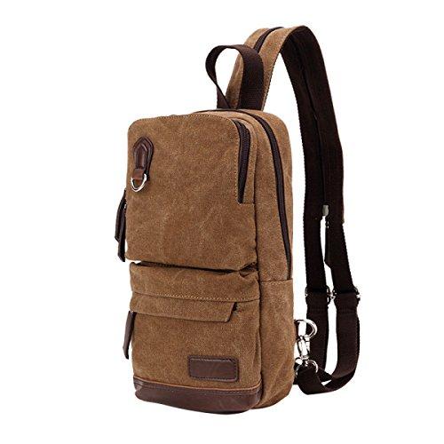 BULAGE Taschen Draußen Atmungsaktiv Einfach Leinwand Rucksäcke Mode Männer Und Frauen Schulter Schulter Rucksack Leichte Tasche Brusttasche Brown