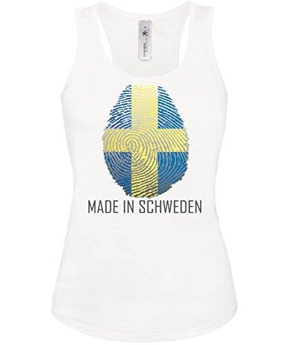 Golebros Made in Schweden 6075 Fussball Fanshirt Damen Fan Fun Tank Top Funshirt Weiss L