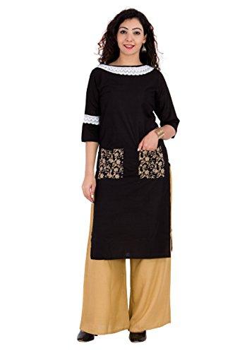 Solide Perfekte Schwarze Spitzenarbeit Baumwolle Frauen Mode FrontSlit Kurti Gerade Fit Kurta Top Tunika Party Kleid (M) (Kalb Weit Boot)
