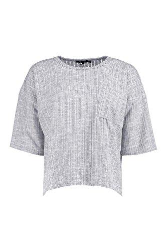 gris Femmes Petite Leanne T-shirt Surdimensionné Et Côtelé À Poche Gris