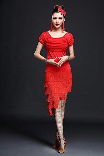 Frau Lateinischer Tanz Kleidung Quaste Kleid schwarz Rose Rot , red , (Kostüme Schwarze Bauch Kleid Tanzen)