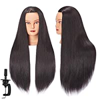 """Hairginkgo 26""""- 28"""" Mannequin Head Synthentic Fiber Hairdresser Training Head Cosmetology Manikin with Free Table Clamp Stand"""
