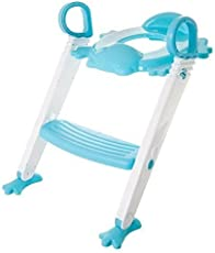 Techsun Froggie Foldable Plastic Potty Training Seat Stool Boys Girls Toddler with Toilet Ladder Step up Training Stool