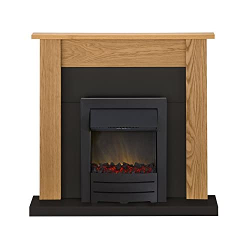 41PrpXwm8FL. SS500  - Adam Southwold Fireplace Suite in Oak and Black with Colorado Electric Fire in Black, 43 Inches
