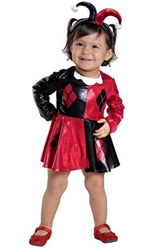 Kostüm Kleid Deluxe Kind - DMMDHR Halloween Neue DeluxeFrau Film Kostüm für KinderKleid superheld Thema Halloween Kostüm für (3-9 Jahre) Mädchen Party Kleid, Harley Quinn 2 stücke, L