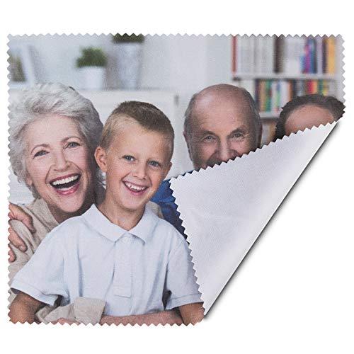 Geschenkidee.de Brillenputztuch mit Foto | individualisiertes Reinigungstuch für Brillen, Handys oder Kameras mit eigenem Bild - 17,5 x 15 cm