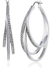 Swarovski Damen-Creolen Platiniert Kristall transparent Rundschliff - 5099219