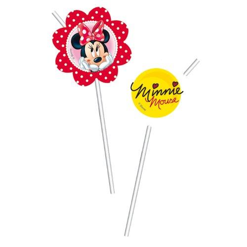 Minnie Kostüm Einladungen - Procos Minnie Maus & Daisies Medallion Flexi Trinkhalme