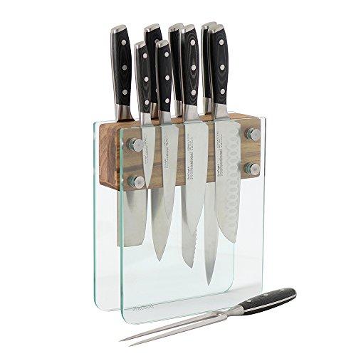 procook-professional-x50-set-de-couteaux-9-pieces-avec-bloc-a-couteaux-en-verre