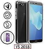 New&Teck Coque Huawei Y5 2018 – Protection intégrale Avant + arrière en Rigide, Housse Etui Tactile 360 degré – Antichoc, Transparent Y5 2018