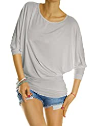 Bestyledberlin Damen Oberteil Longshirt Bluse Tunika Top Fledermausärmel Damenshirt t54p