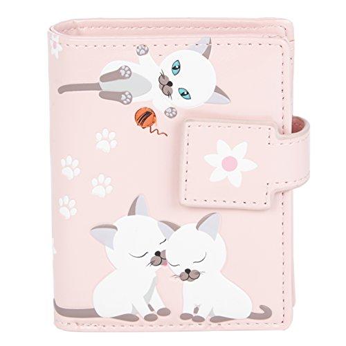 Shagwear portafoglio per giovani donne Small Purse : Diversi colori e design: (maliziosi Gattino Rosa/Playful Kittens Pink)