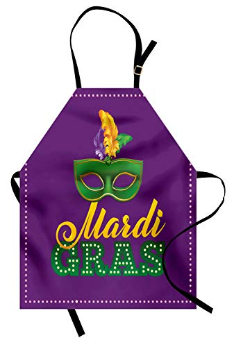 ABAKUHAUS Mardi Gras Kochschürze, Grüne Maske mit bunten Federn auf lila Hintergrund Styled Kalligraphie, Farbfest Höhenverstellbar Waschbar Klarer Digitaldruck, Lila Gelb Grün