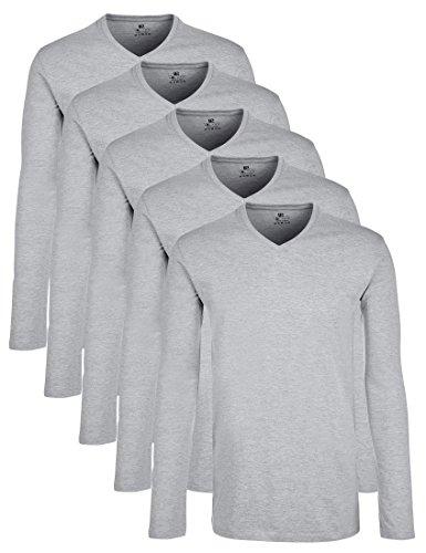 Lower East Herren Langarmshirt mit V-Ausschnitt, 5er Pack, Gr. XX-Large, Grau (Grau Melange)