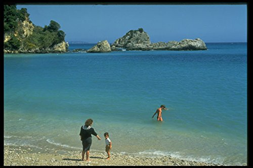384080 Mother And Small Son On Beach Parga Greece A4 Photo Poster Print 10x8