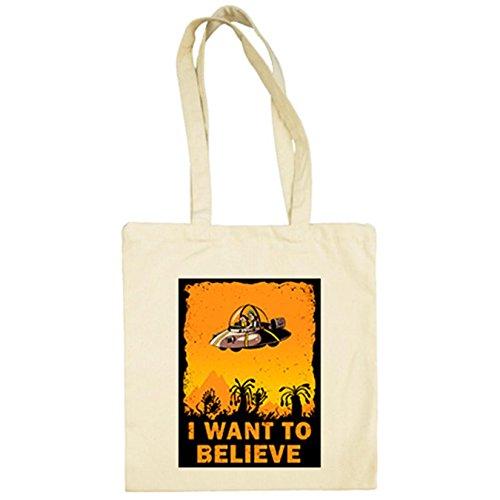 Bolsa de tela Rick And Morty I Want To Believe - Beige, 38 x 42 cm