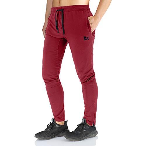 Broki - pantaloni da jogging da uomo, con cerniera, stile casual, per palestra, fitness, vestibilità aderente, colore: nero burgundy l
