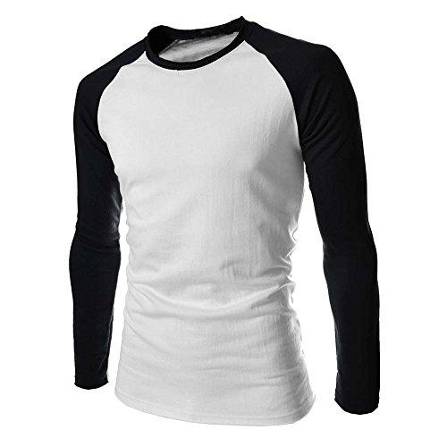 Yvelands camicia a maniche lunghe da uomo a manica lunga con t-shirt magliette uomo maglioni canottiera maglie felpe cappotto(bianco,large)