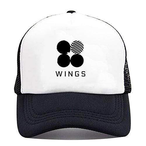 Yovvin BTS Basecap, Unisex Kpop Bangtan Jungen Hip-Hop Style Einstellbar Baseball Cap Snapback Hut Baseballkappen für Sport & Outdoor(Wings)