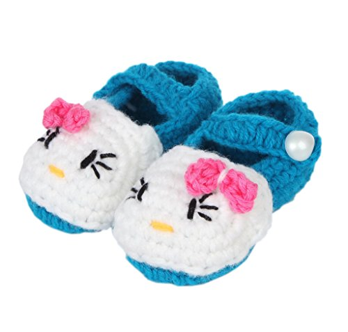 Bigood(TM) 1 Paar Strickschuh One Size Strick Schuh Baby Unisex süße Muster 11cm Blüte Pink A Dunkelgrün D