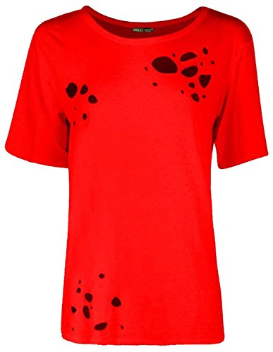 Chocolate Pickle® Neu Frauen Plus Größe Kappe Ärmel Baggy Ripped Beunruhigt T-Shirt Top 36-50 Red