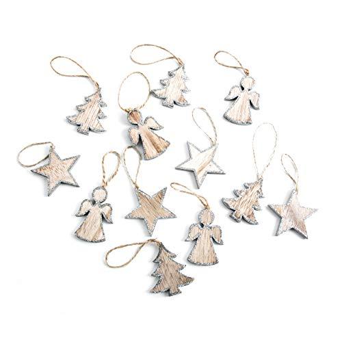 12pequeñas Madera Navidad colgante 5cm Algodón Ángel Estrella Natural purpurina plata baums...