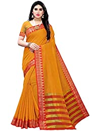 Anni Designer Women's Yellow Color Cotton Silk Striped Saree With Blouse Piece (EMMEA YELLOW_Free Size)