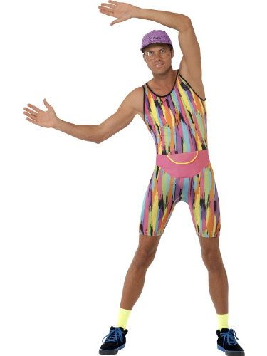 Go back to the 90s with this men's Mr Motivator Aerobics Instructor Costume. Includes a Bodysuit, Hat and Bum Bag