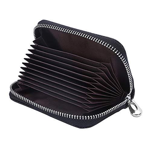 LinHut Tasche Echtes Leder Brieftasche Orgel Karte Paket Multifunktions Einfache Multi-Karten Position Reißverschluss Geldbörse Geldbörse Für Unisex (Farbe: Schwarz) Karten-Münze (Brieftasche Brieftaschen Akkordeon)