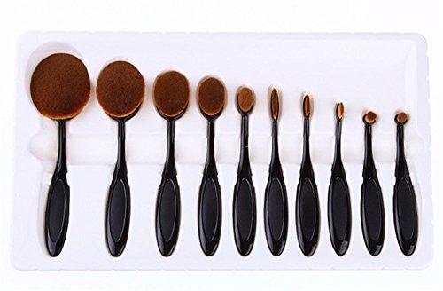RoseFlower® Professionnel 10 Pcs Pinceaux Maquillage Trousse - Pro Make Up Cosmétique Brosse / Brushes Kit Pour Visage Blending Fondation Blush Eyeliner Poudre