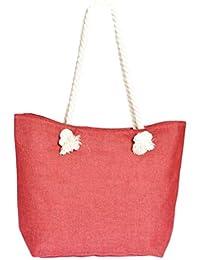 7c27bdfb51aaa Strandtasche Handtasche Maritim in feiner Leinen-Optik rot mit 30cm Griff  aus Tau Kordel natur