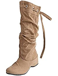Minetom Mujer Botas De Nieve Calentar Invierno Planos Zapatos Moda Rodilla De Las Botas Caqui EU