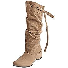 Minetom Mujer Botas De Nieve Calentar Invierno Planos Zapatos Moda Rodilla De Las Botas