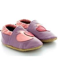 Chaussons Bébé en Cuir Souple Coeur Violet
