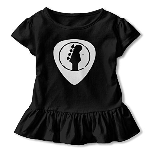 TYBroos Retro Bass Guitar Toddler Girls' Short Sleeve Ruffle Tee -