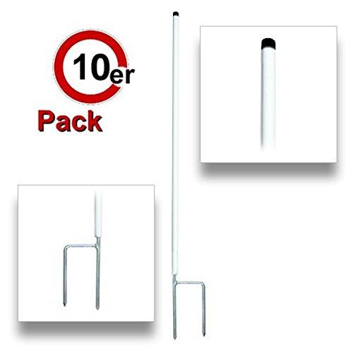 Göbel Piquet de Piquet de clôture en plastique rond 138 cm x 19 mm plus double pointe ongles 10 Pcs