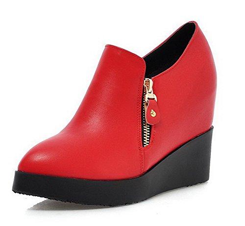 AllhqFashion Femme Couleur Unie Pu Cuir à Talon Haut Pointu Zip Chaussures Légeres Rouge