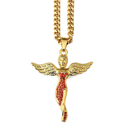 Männer Frauen Hip Hop Red Diamond Strass Engel Göttin Anhänger Halsketten Charm Wings Jesus Punk Schmuck