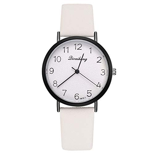 Fulltime Mode Occasionnel Quartz Horloge Montre Bracelet Horloge Bracelet en Cuir pour Femmes Dames (Blanc)