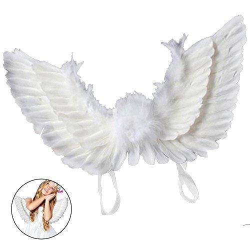everso Flügel Kostüm Kinder Engelsflügel Feder Halloween Karneval Kostüm 45x35 cm Weiß)